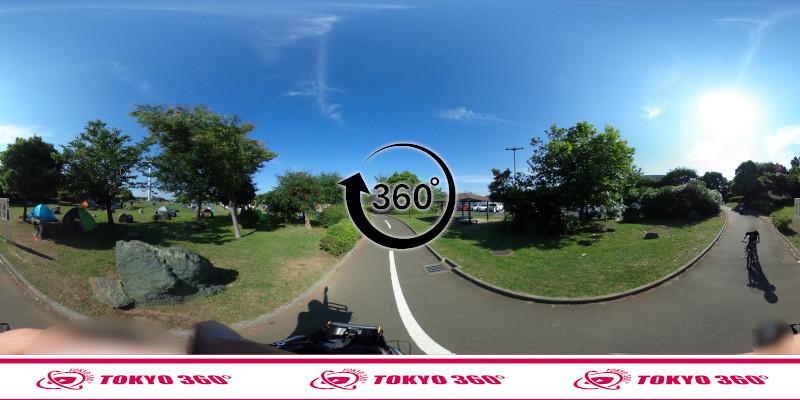 若洲海浜公園サイクリングロード-360度写真-04