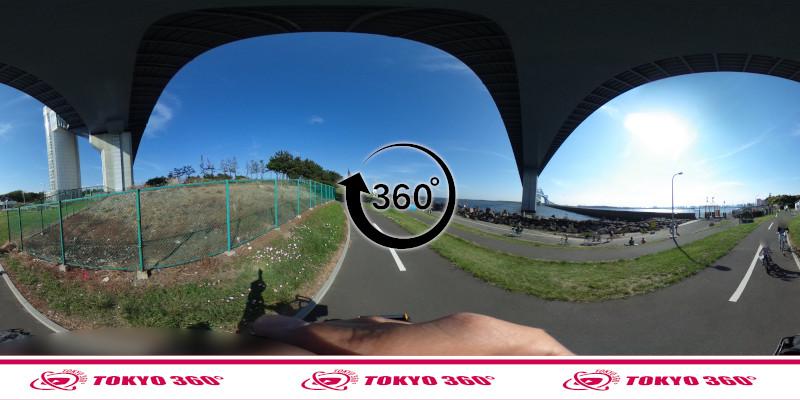 若洲海浜公園サイクリングロード-360度写真-08