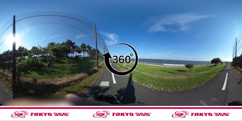 若洲海浜公園サイクリングロード-360度写真-13