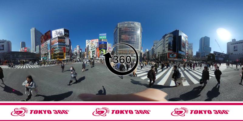 渋谷スクランブル交差点-360度写真-宮益御嶽神社