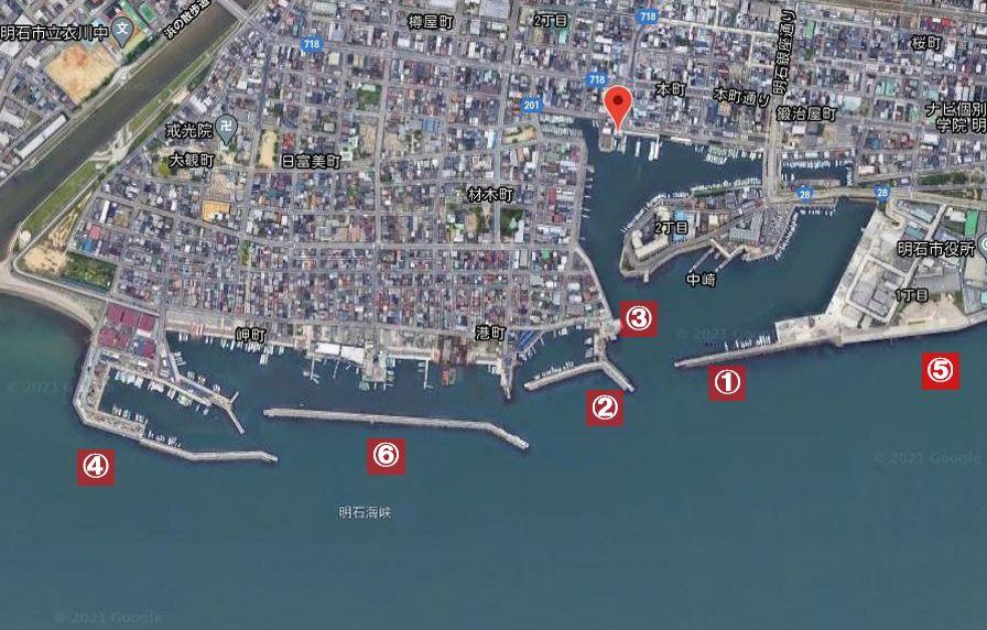 明石港-釣り場の全体像