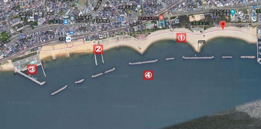 須磨海岸-釣り場の全体像