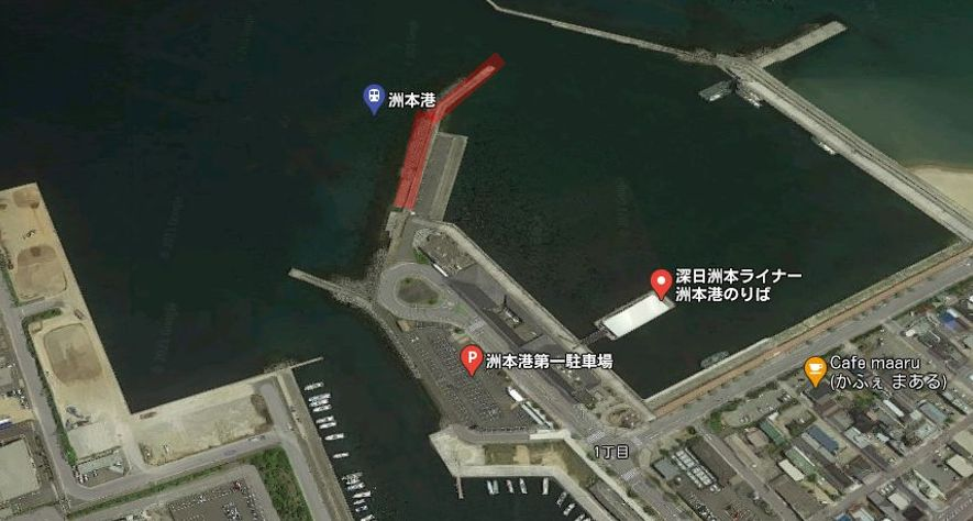 ポートターミナル付近の波止