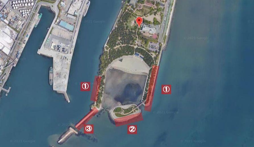 高砂海浜公園-釣り場の全体像