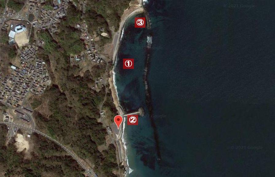 長浜海岸(茨城)-釣り場の全体像