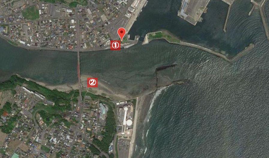 那珂川河口の釣り場-全体像