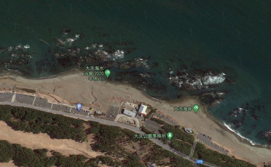 大洗磯(大洗海岸)-釣り場の全体像