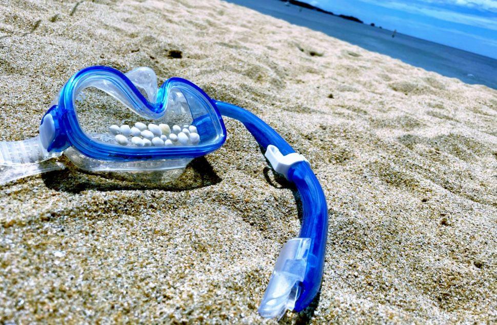 砂浜に置かれたシュノーケル